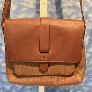 Fossil Kinley tan leather Crossbody bag ECU!